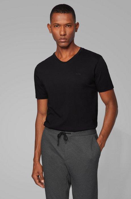 T-Shirt aus garngefärbter Baumwolle mit V-Ausschnitt und Logo, Schwarz