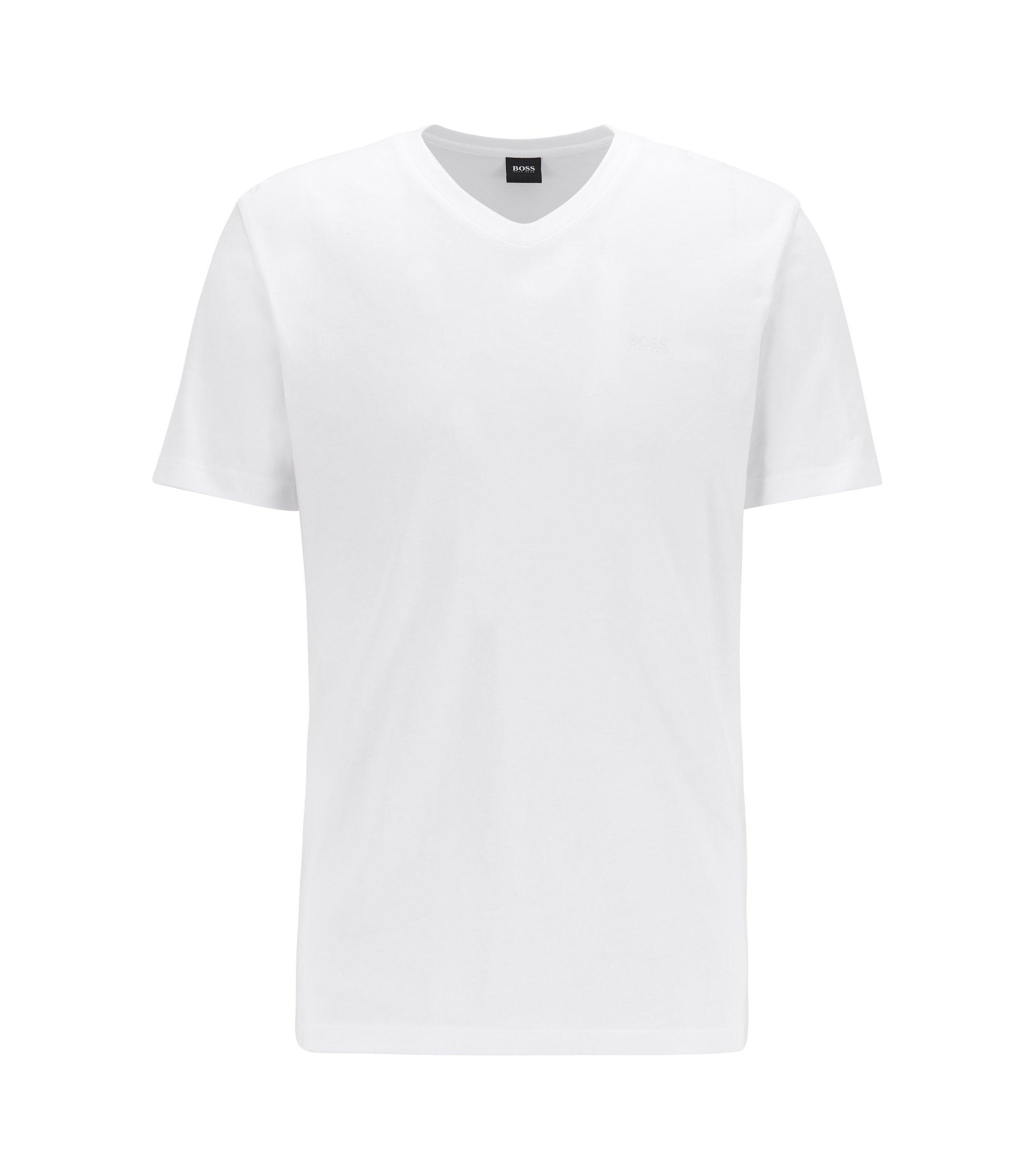 Logo-T-shirt met V-hals van garengeverfde katoen, Wit