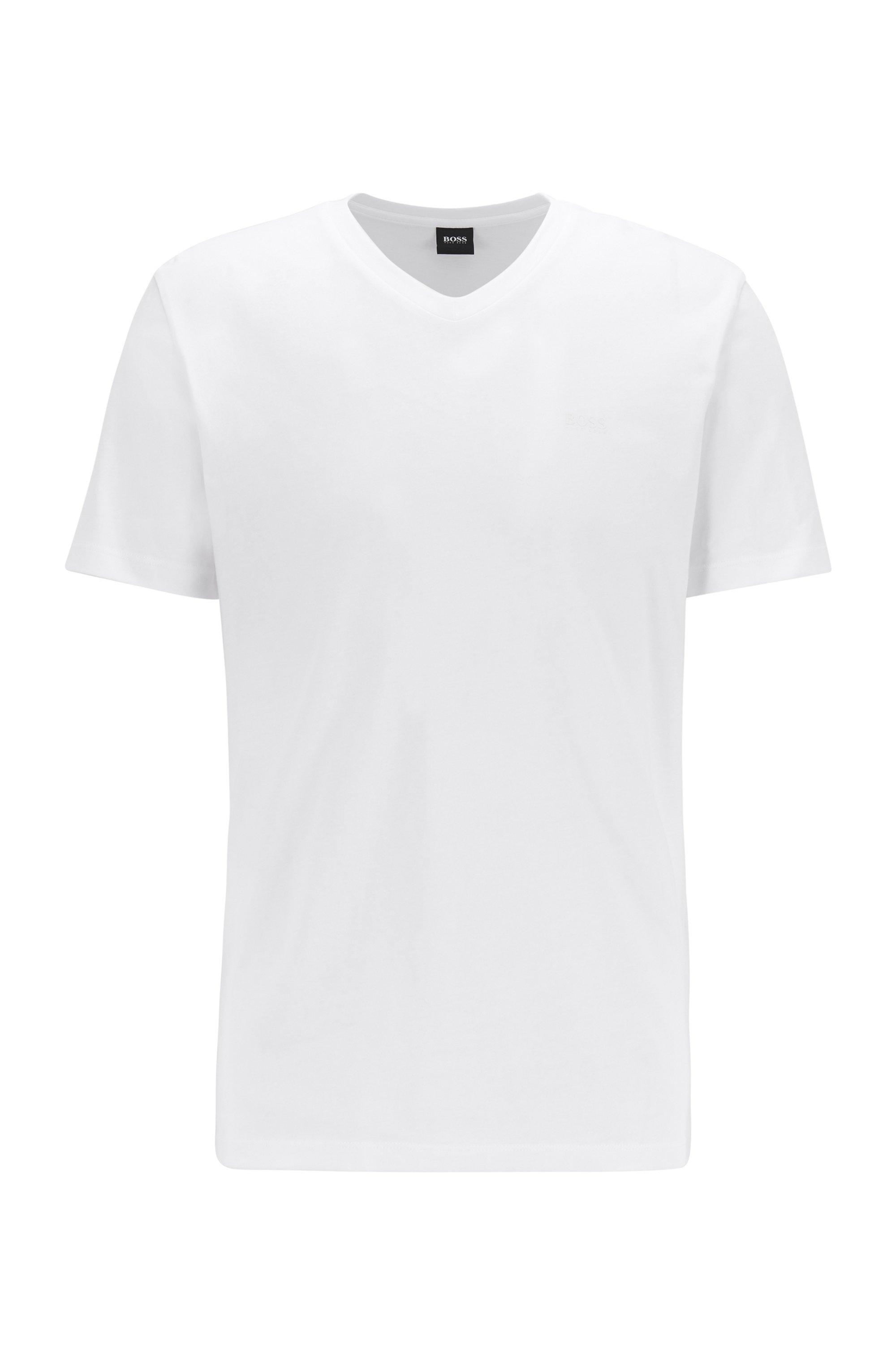 T-Shirt aus garngefärbter Baumwolle mit V-Ausschnitt und Logo, Weiß