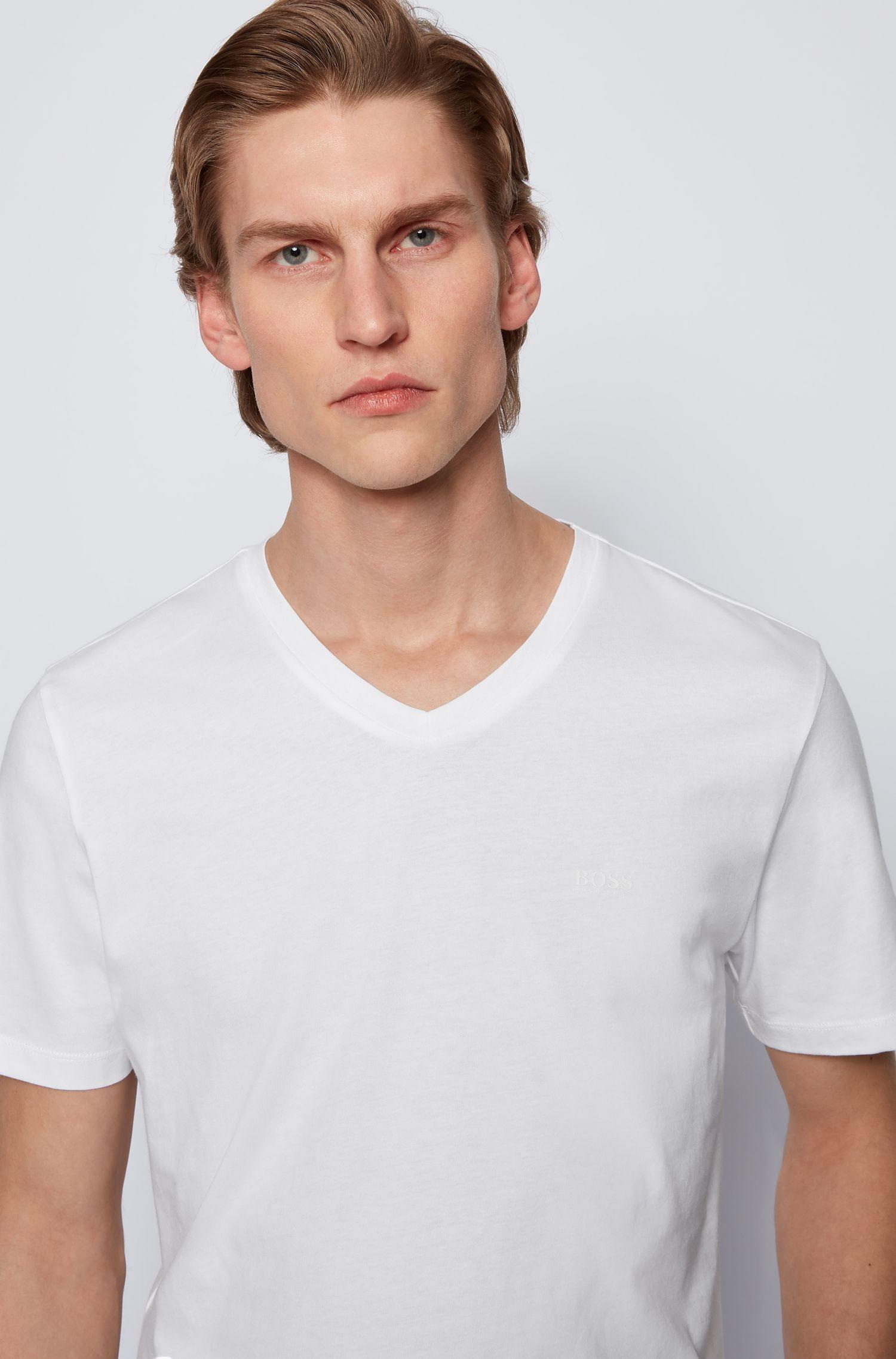 V-neck logo T-shirt in yarn-dyed cotton, White