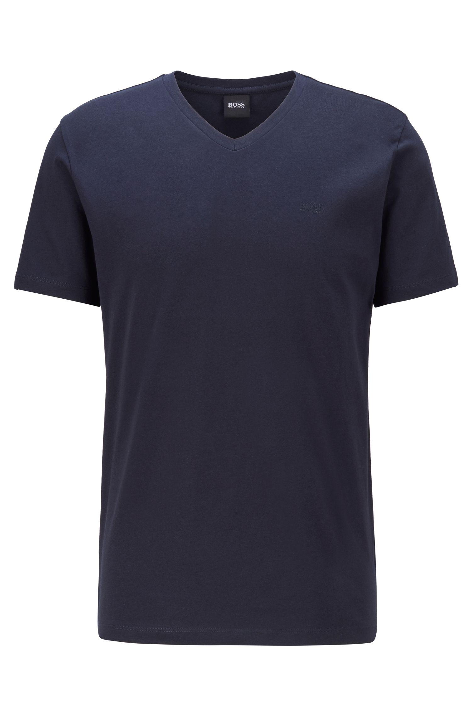 Logo-T-shirt met V-hals van garengeverfde katoen, Donkerblauw