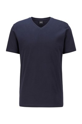 T-shirt con scollo a V e logo in cotone tinto in filo, Blu scuro