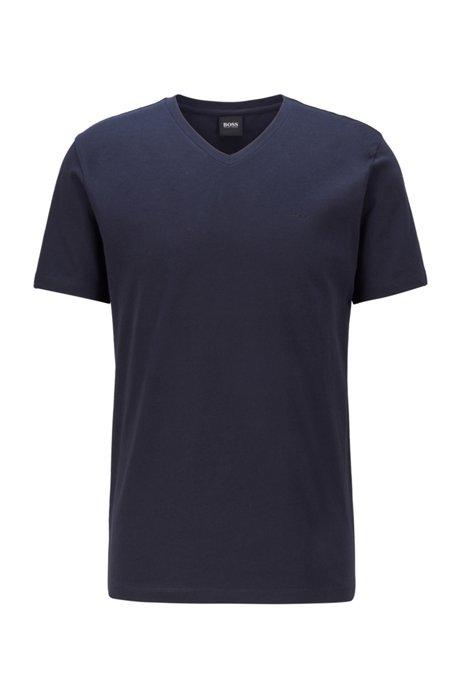 T-Shirt aus garngefärbter Baumwolle mit V-Ausschnitt und Logo, Dunkelblau