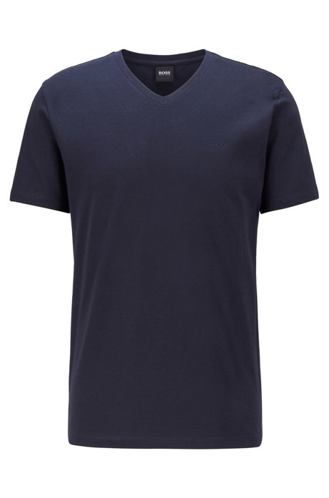 V-neck logo T-shirt in yarn-dyed cotton, Dark Blue