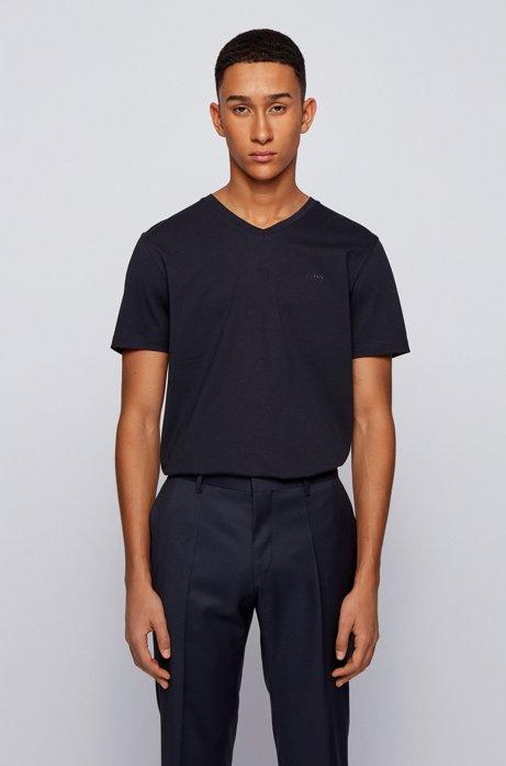 T-shirt à col V en coton tissé-teint, à logo, Bleu foncé
