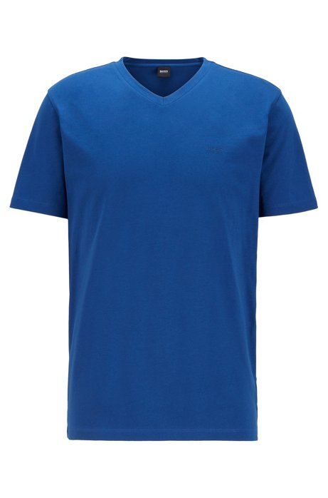V-neck logo T-shirt in yarn-dyed cotton, Dark Blue
