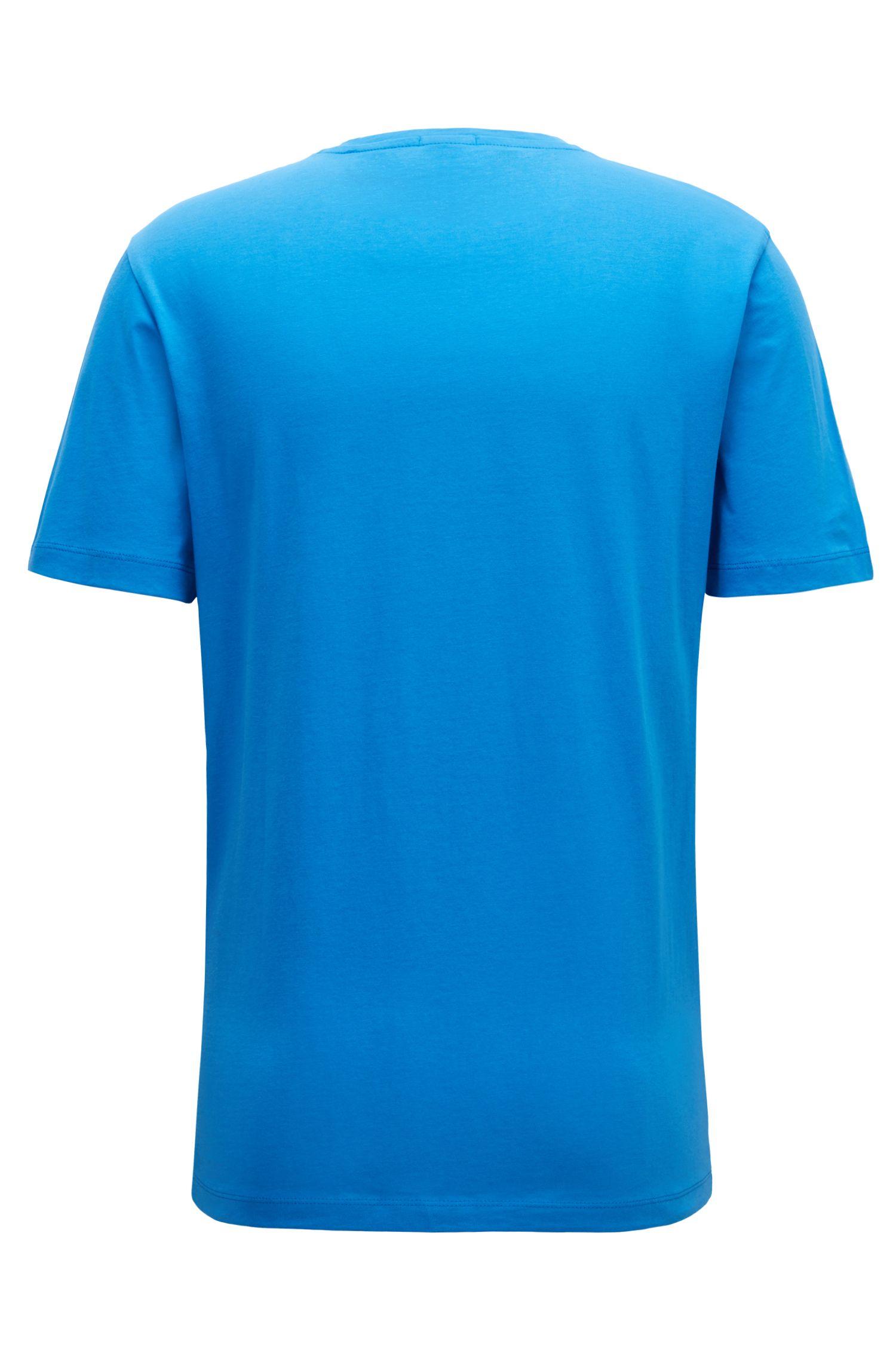 T-Shirt aus garngefärbter Baumwolle mit V-Ausschnitt und Logo, Blau