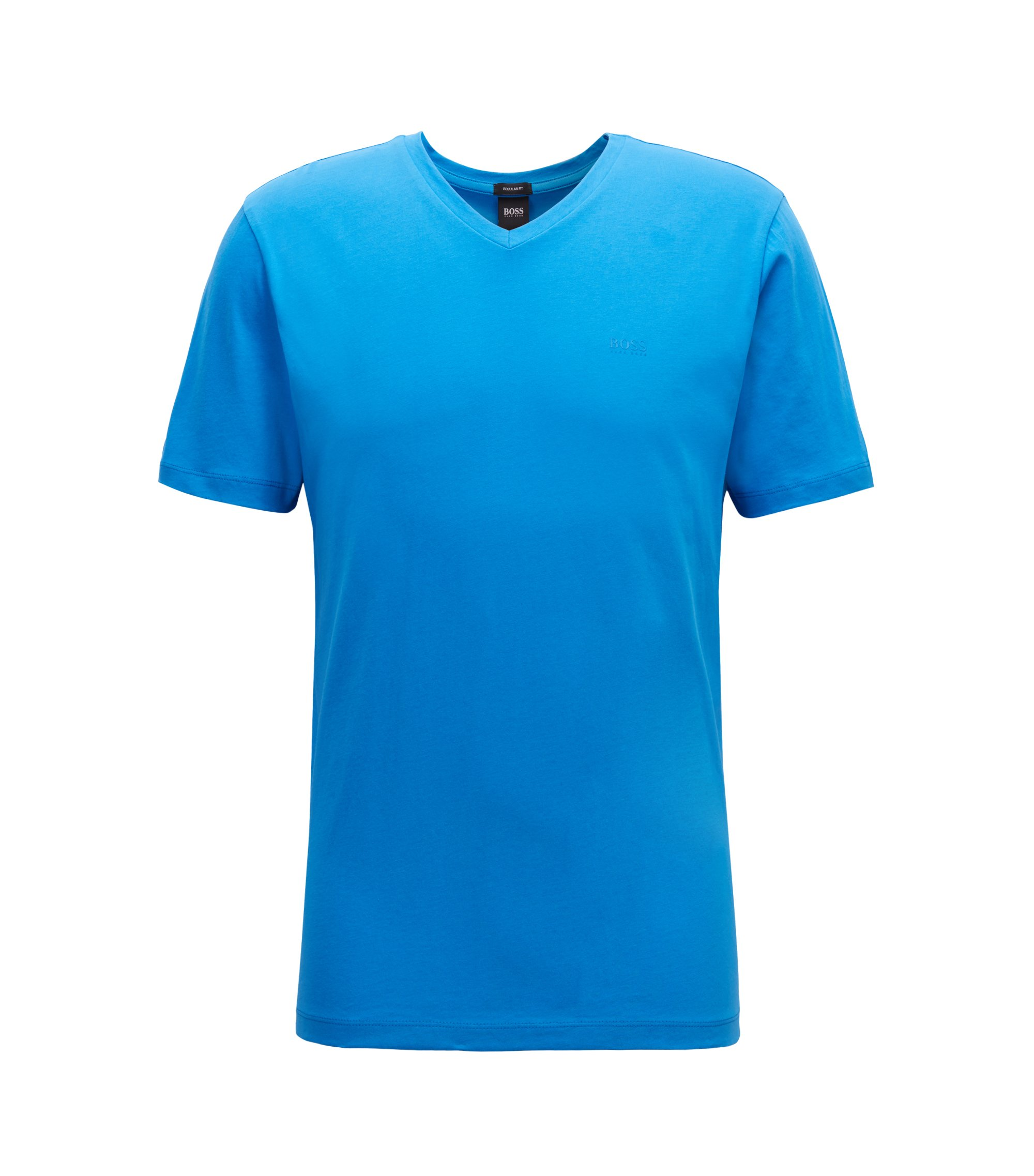 V-neck logo T-shirt in yarn-dyed cotton, Blue