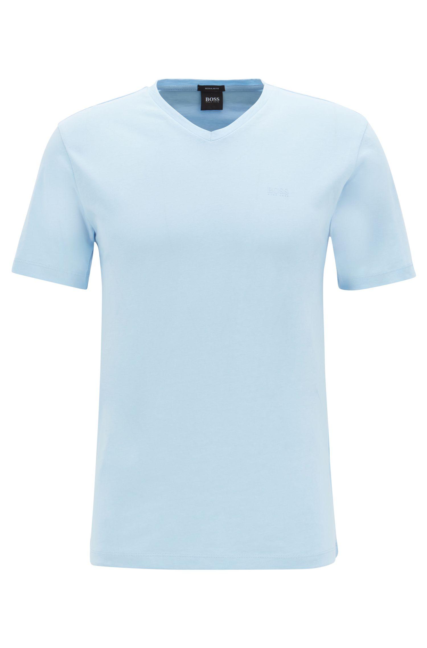 Logo-T-shirt met V-hals van garengeverfde katoen, Lichtblauw