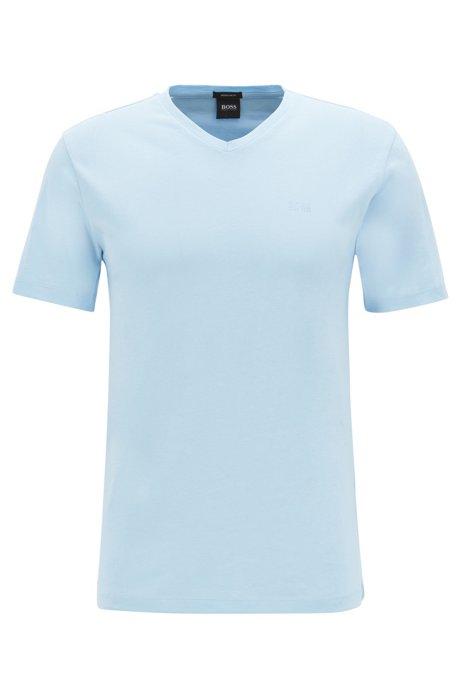 T-Shirt aus garngefärbter Baumwolle mit V-Ausschnitt und Logo, Hellblau