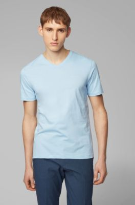 1745786be V-neck logo T-shirt in yarn-dyed cotton