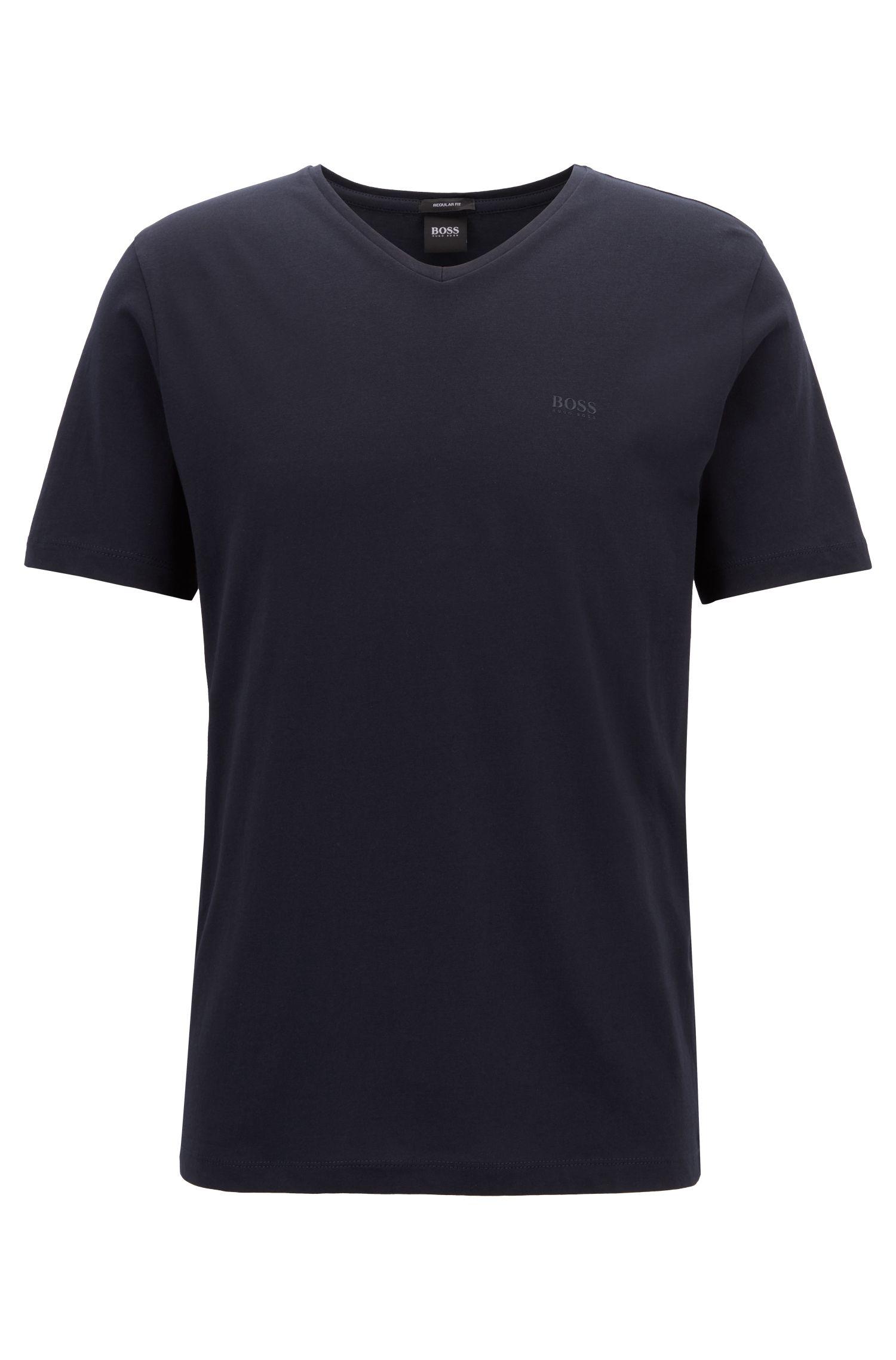 T-shirt à col V en coton tissé-teint, à logo, Bleu
