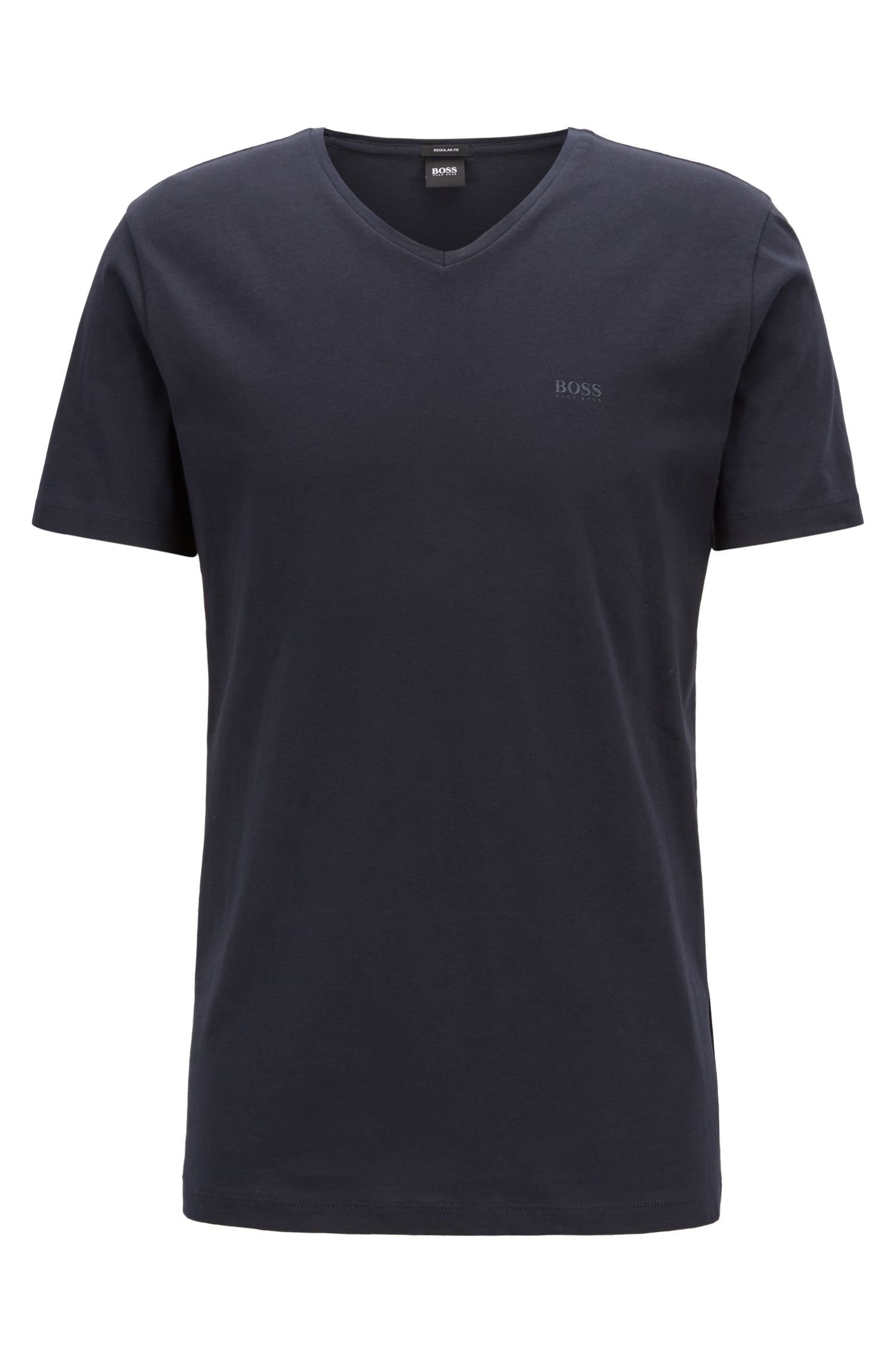 T-shirt à col V en coton tissé-teint, à logo