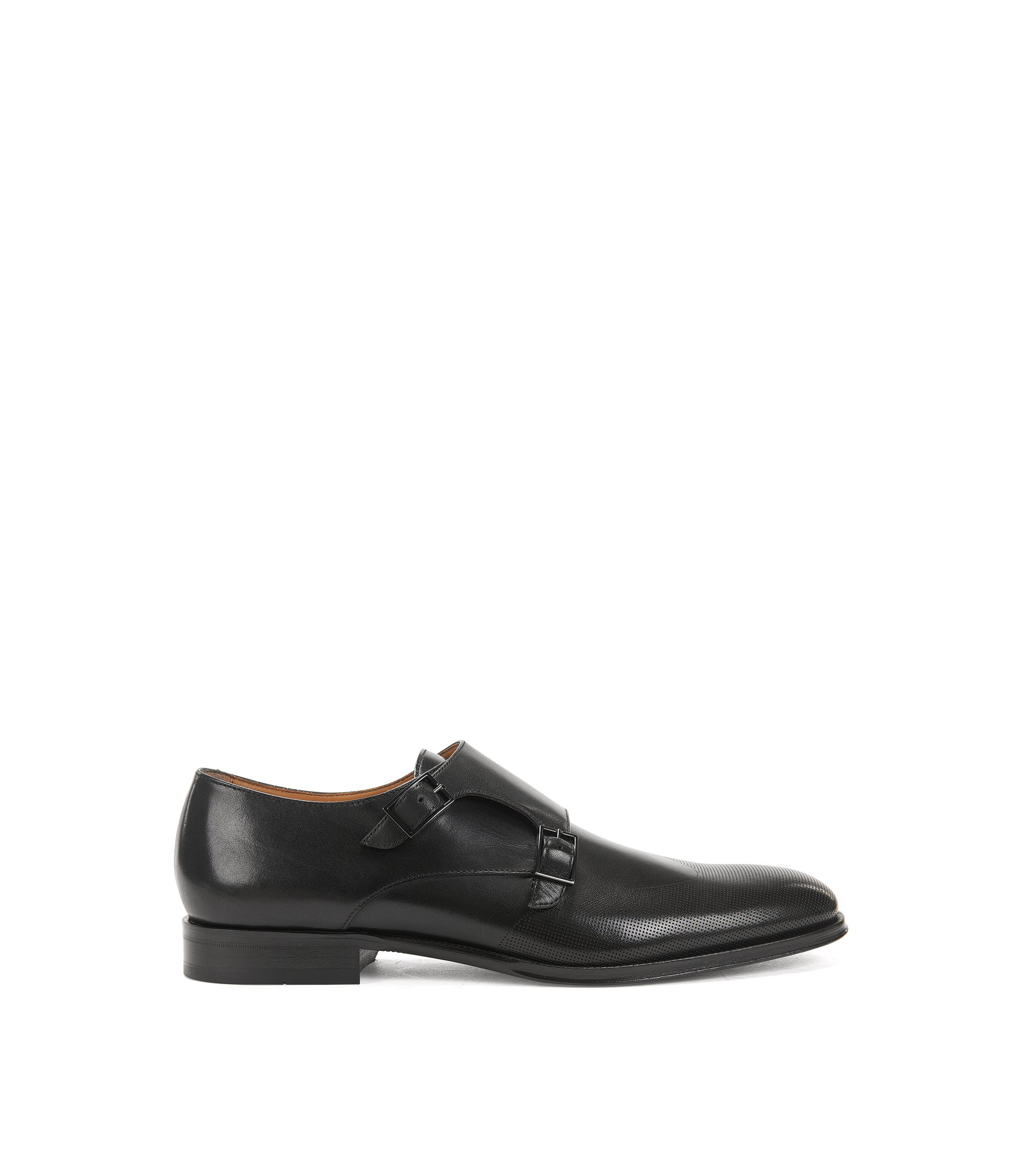 Italian-made calf-leather shoes with double monk strap, Black