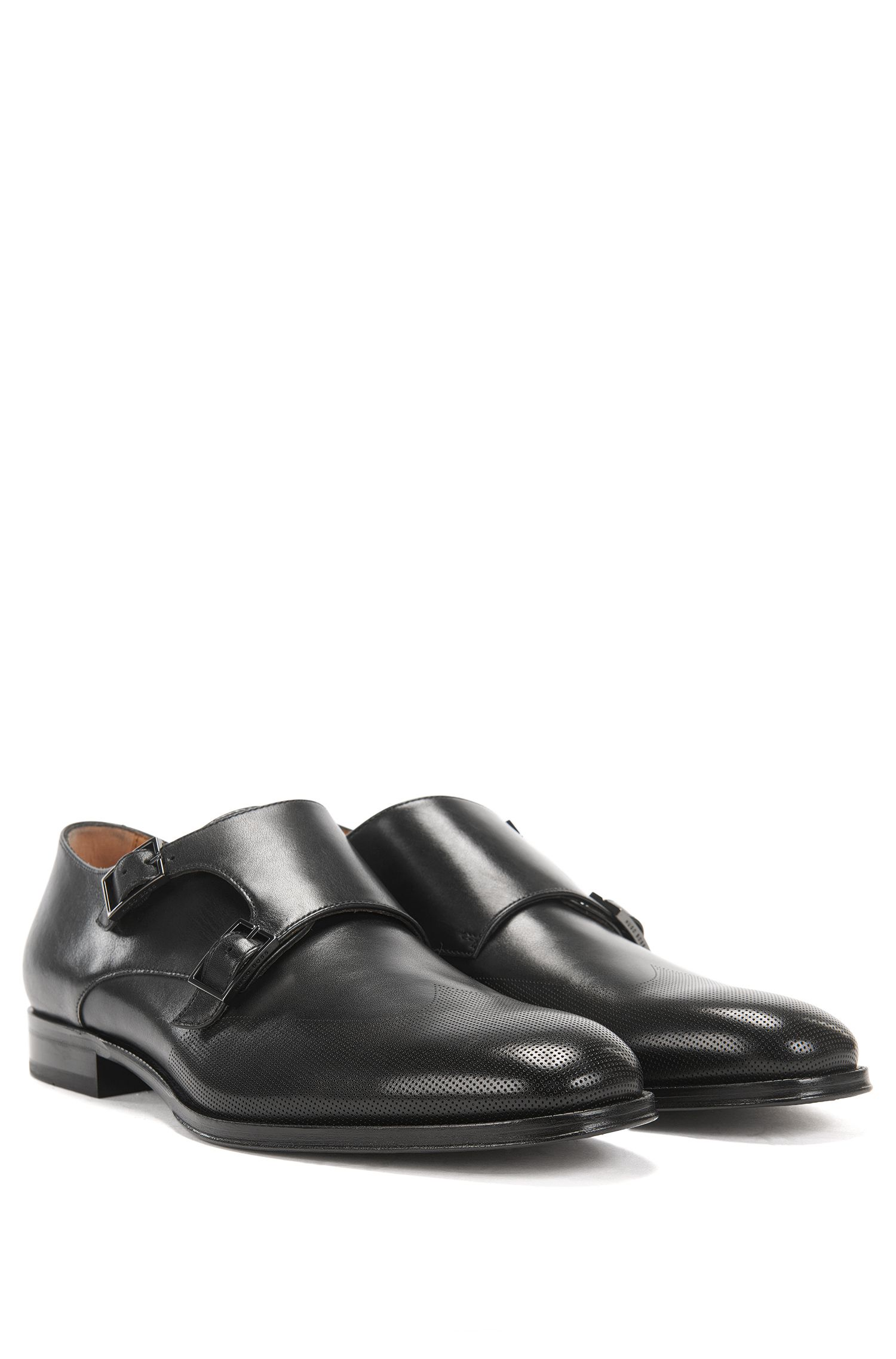 Italian-made calf-leather shoes with double monk strap