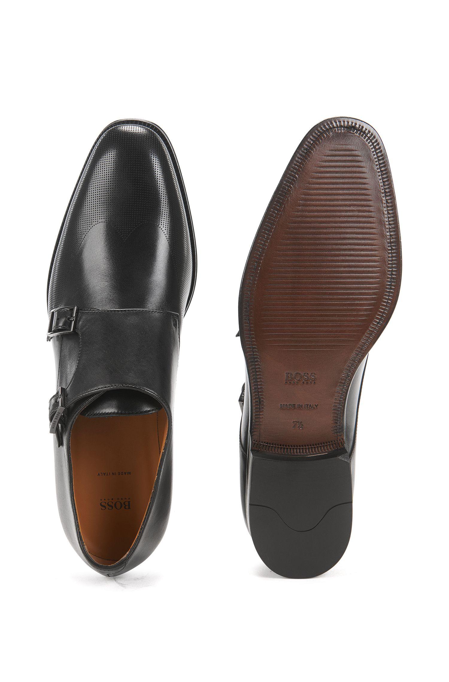 en es veau de Italie en double confectionn cuir Chaussures boucle qwva8x