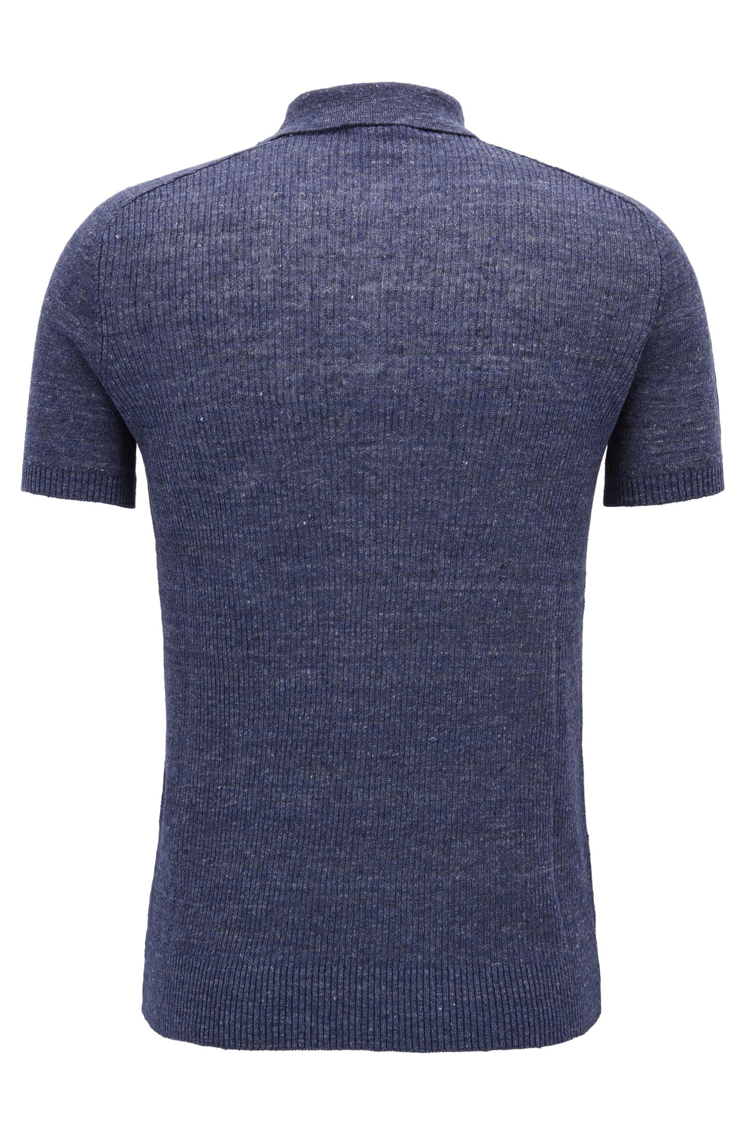 Regular-fit linen polo shirt with ribbed contrasts