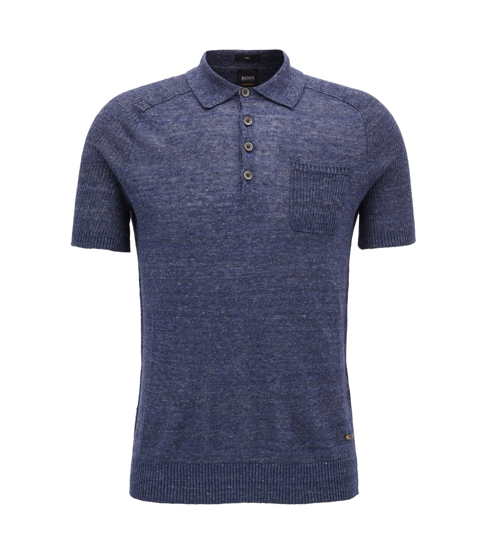 Regular-fit linen polo shirt with ribbed contrasts, Dark Blue