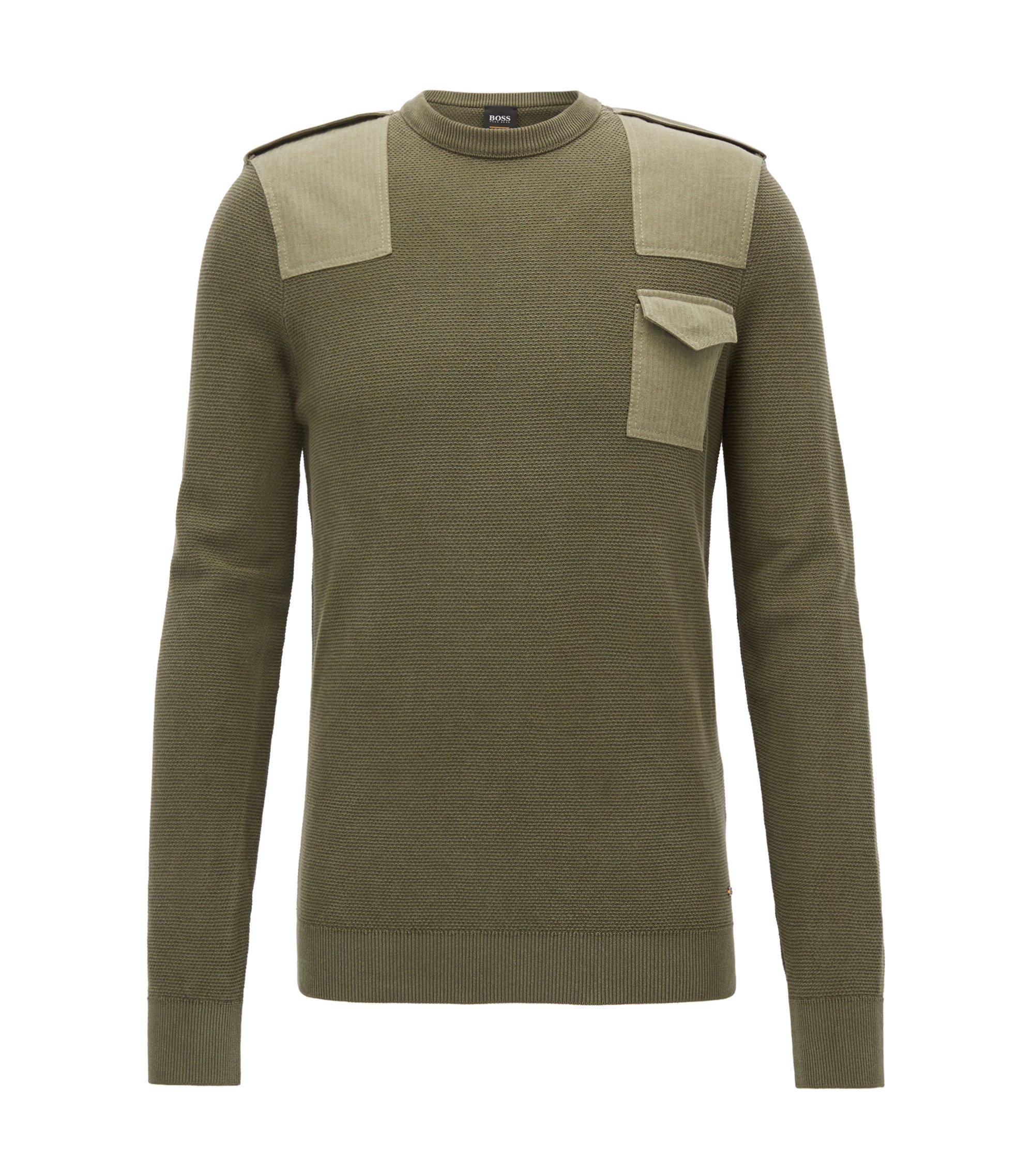 Crew-neck sweater in structured cotton, Dark Green