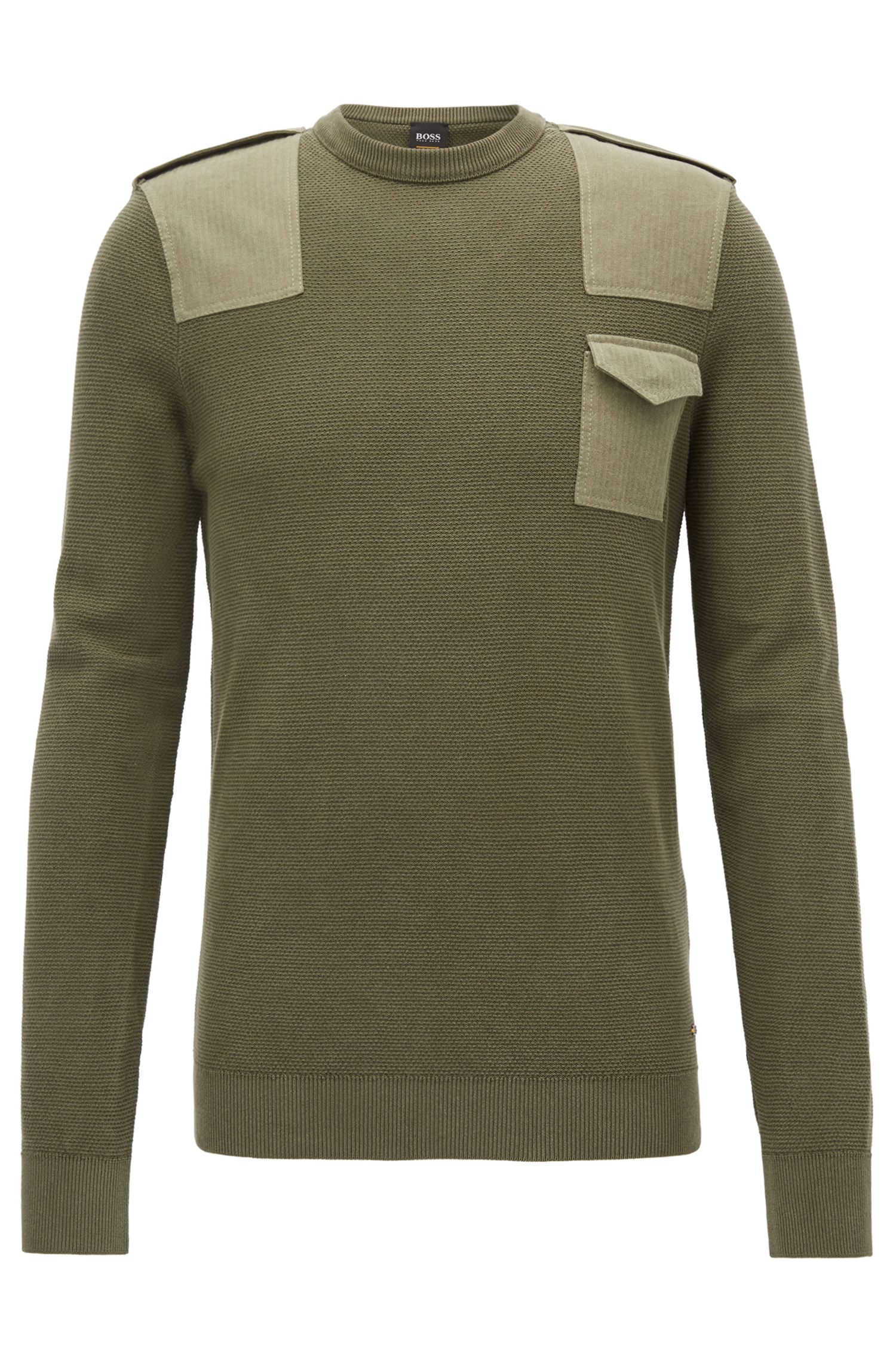 Crew-neck sweater in structured cotton