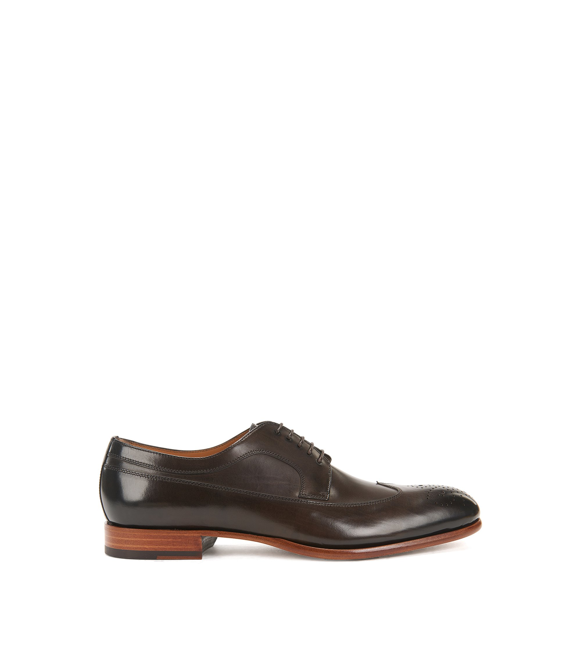 Leather Derby shoes with brogueing, Dark Brown