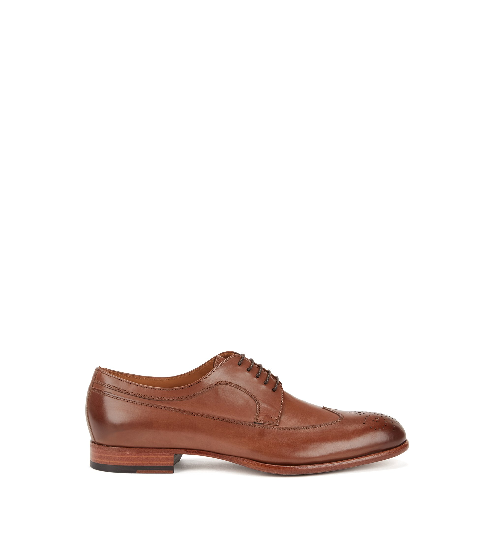 Leather Derby shoes with brogueing, Khaki
