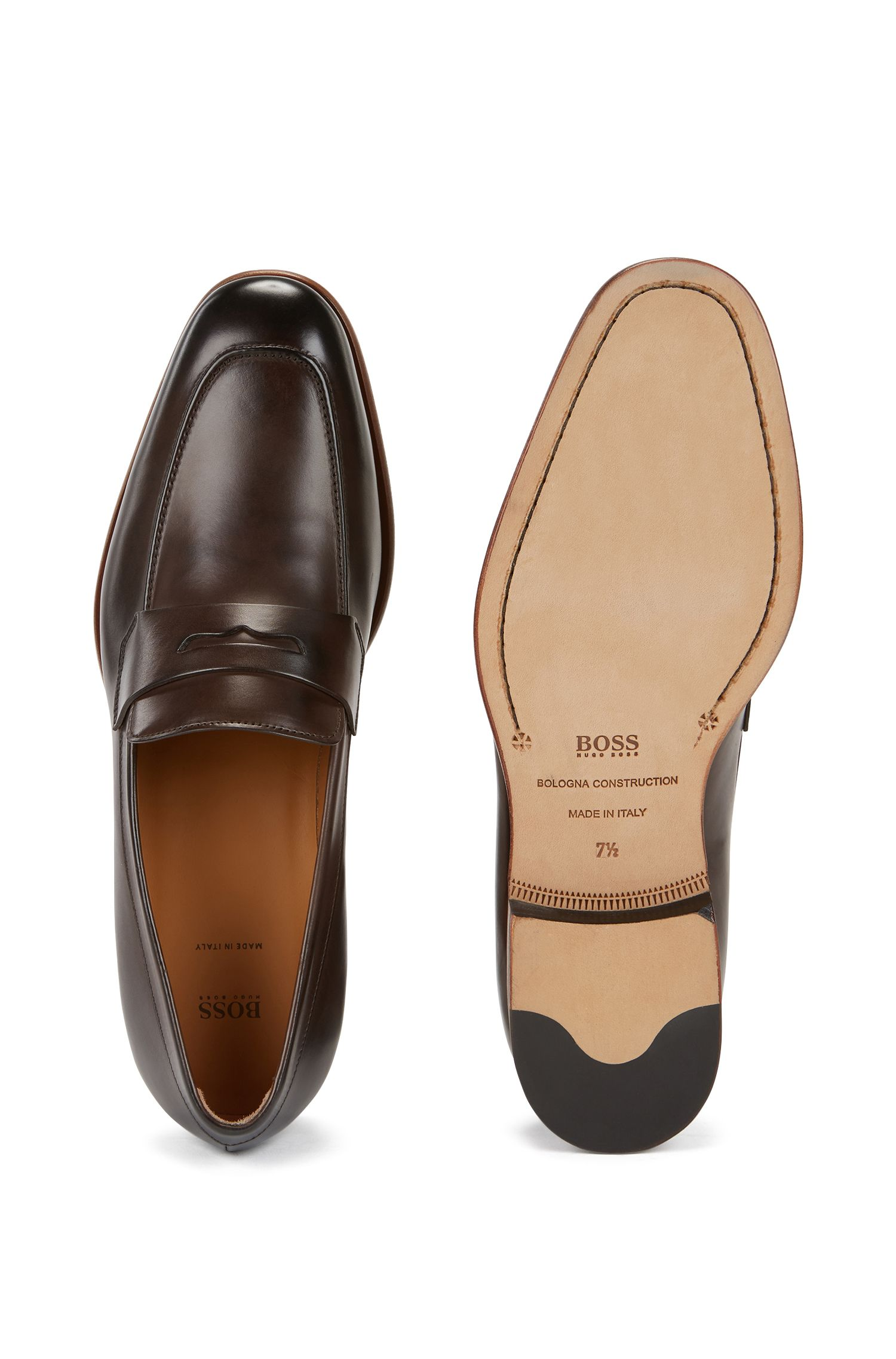 Penny loafers in burnished leather