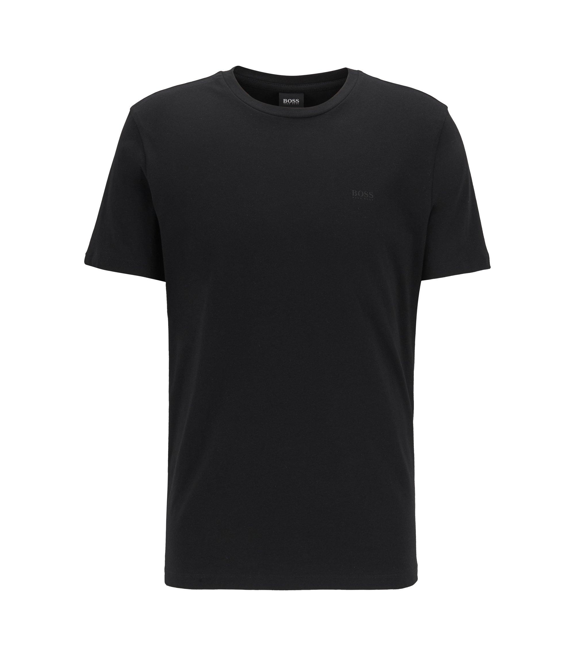 T-Shirt mit Rundhalsausschnitt aus garngefärbtem Single Jersey, Schwarz