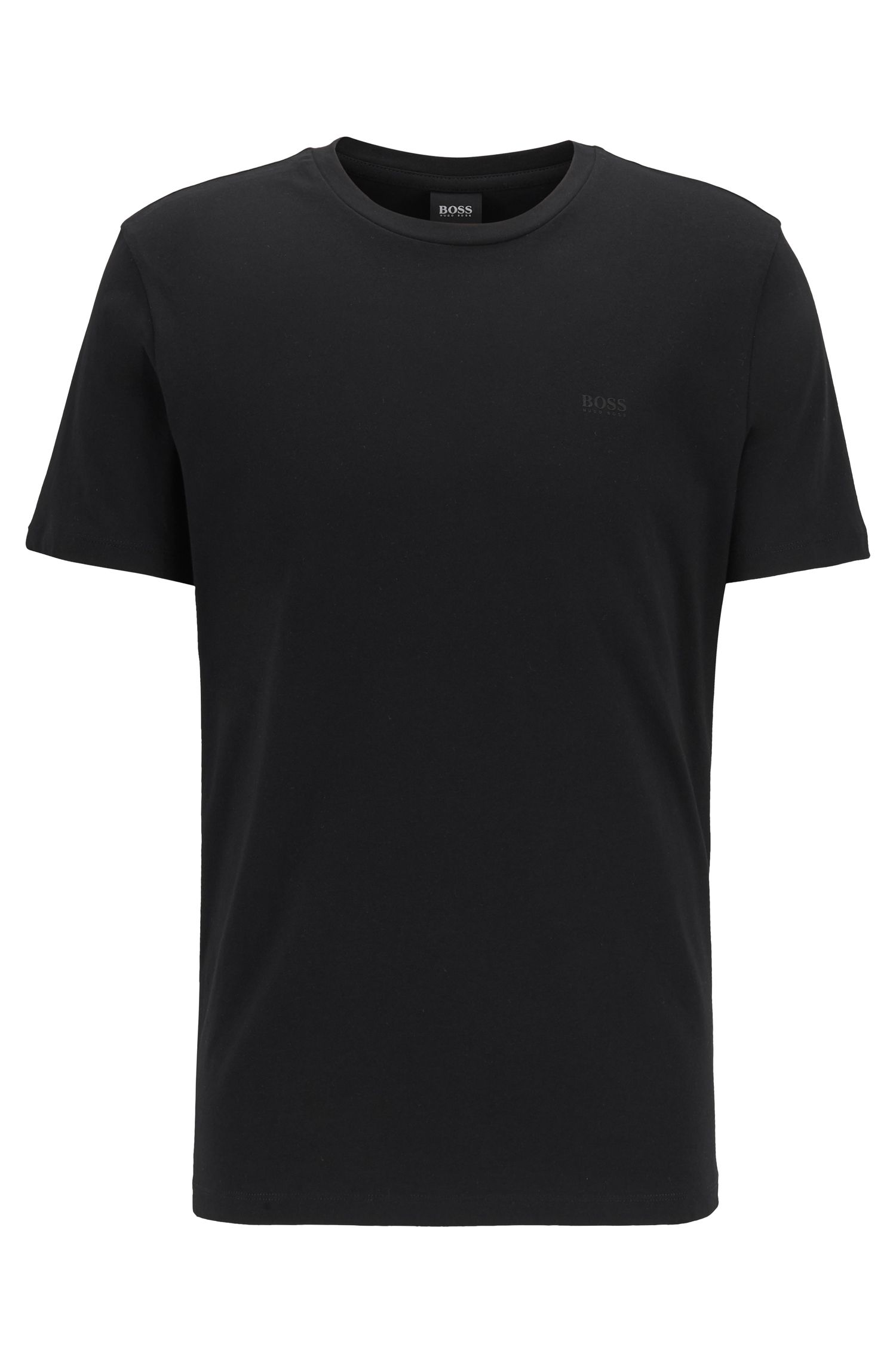 T-shirt a girocollo in jersey tinto in filo, Nero