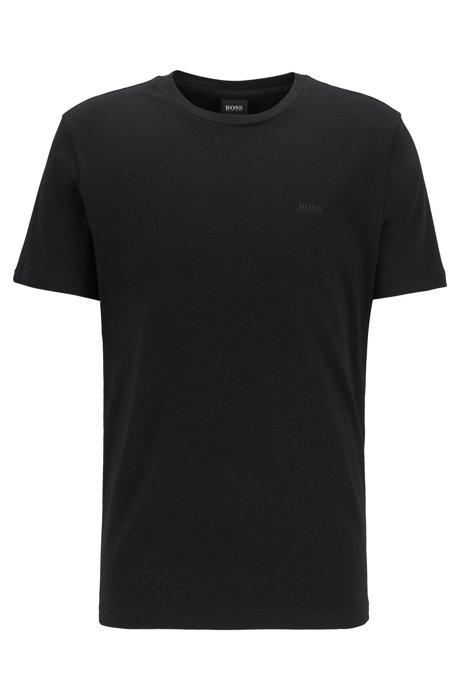 Crew-neck T-shirt in yarn-dyed single jersey, Black