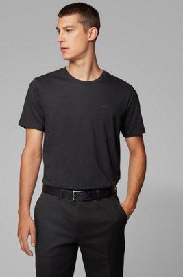 Camiseta de cuello redondo en punto sencillo teñido en hilo, Negro