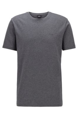 T-Shirt mit Rundhalsausschnitt aus garngefärbtem Single Jersey, Grau