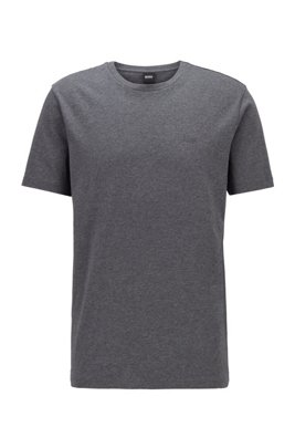 Crew-neck T-shirt in yarn-dyed single jersey, Grey