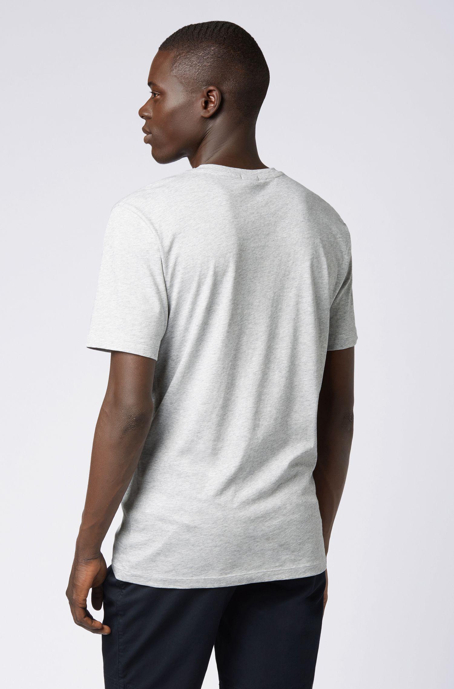 T-shirt à col ras-du-cou en jersey simple tissé-teint, Gris