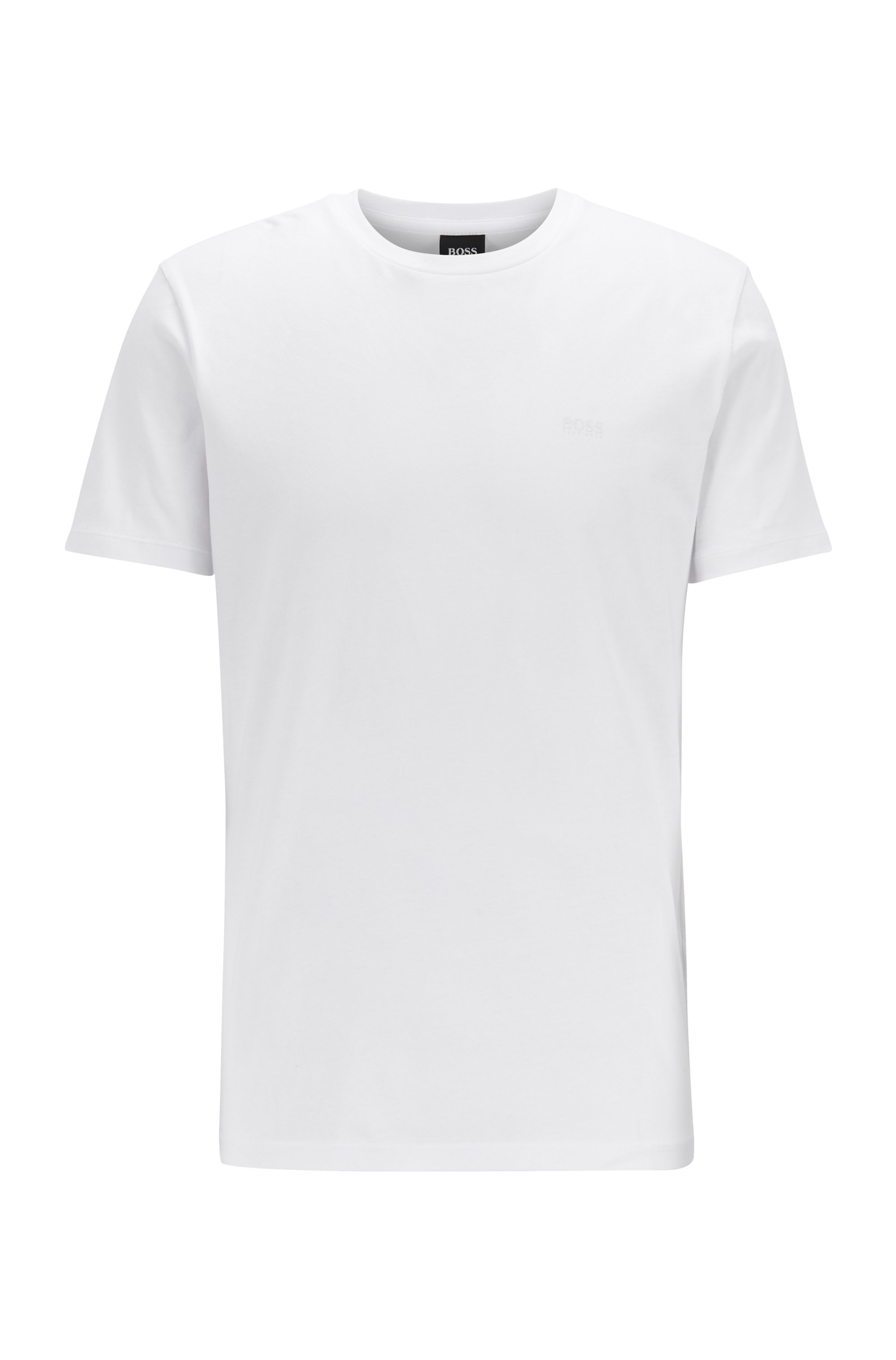 Crew-neck T-shirt in yarn-dyed single jersey, White