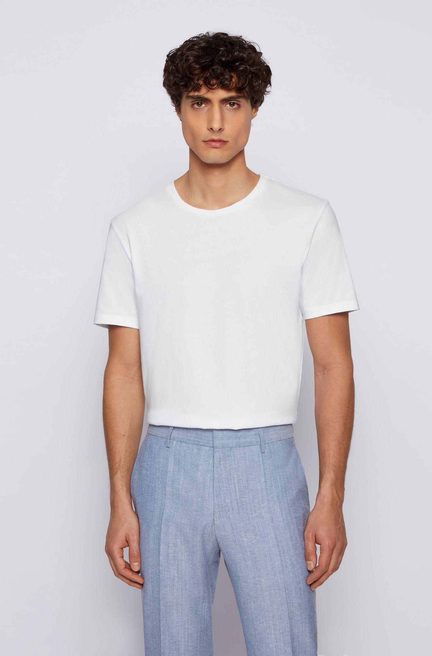 T-shirt à col ras-du-cou en jersey simple tissé-teint, Blanc