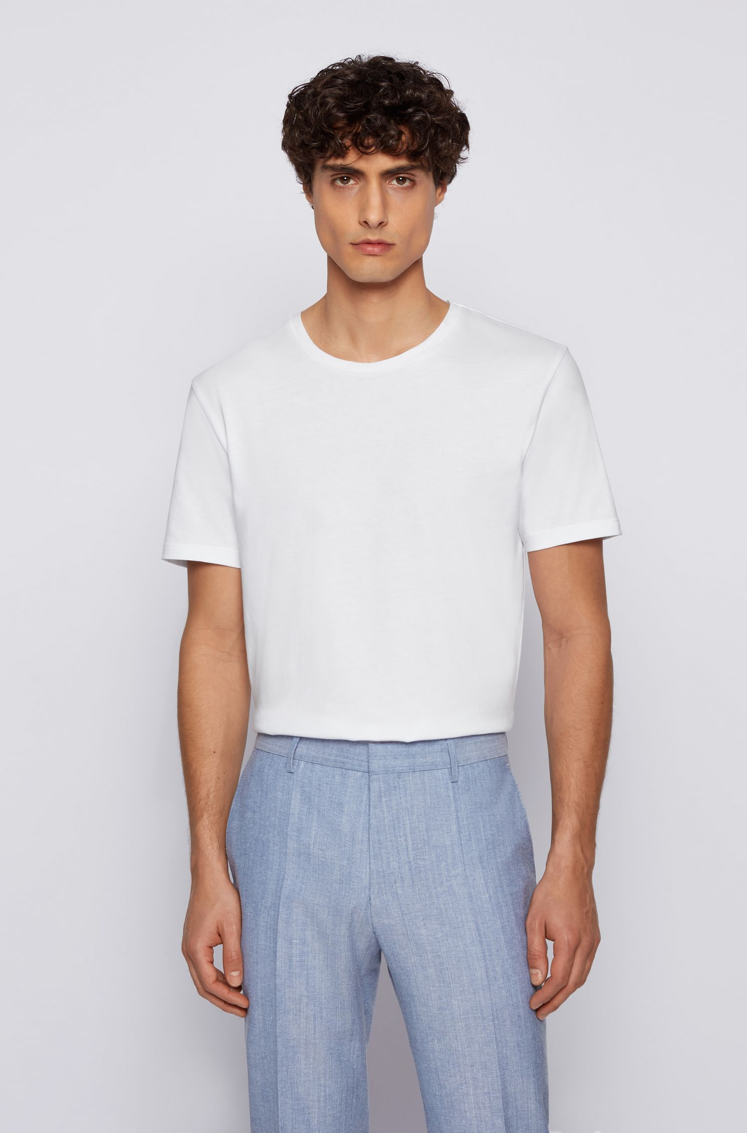 Camiseta de cuello redondo en punto sencillo teñido en hilo, Blanco