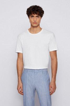 T-Shirt mit Rundhalsausschnitt aus garngefärbtem Single Jersey, Weiß