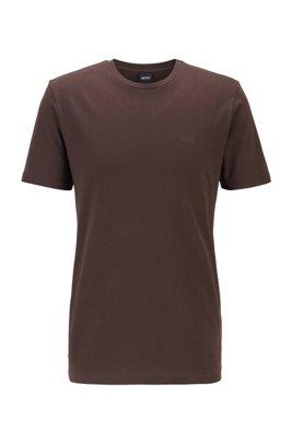 Camiseta de cuello redondo en punto sencillo teñido en hilo, Marrón claro