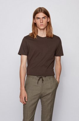 Crew-neck T-shirt in yarn-dyed single jersey, Light Brown