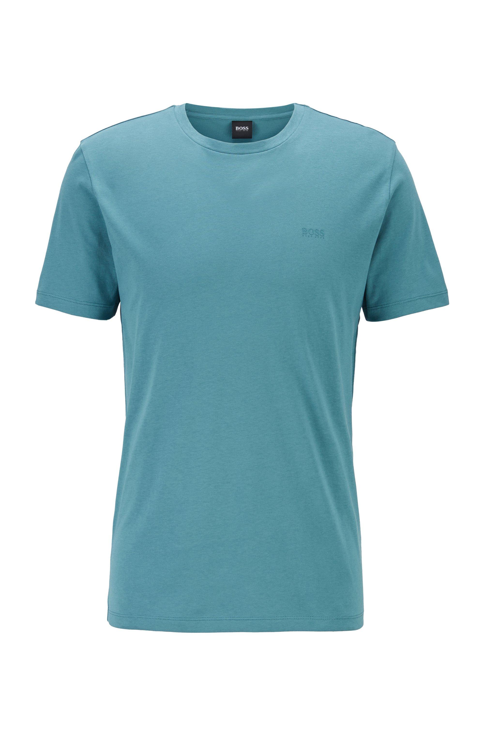 Camiseta de cuello redondo en punto sencillo teñido en hilo, Verde