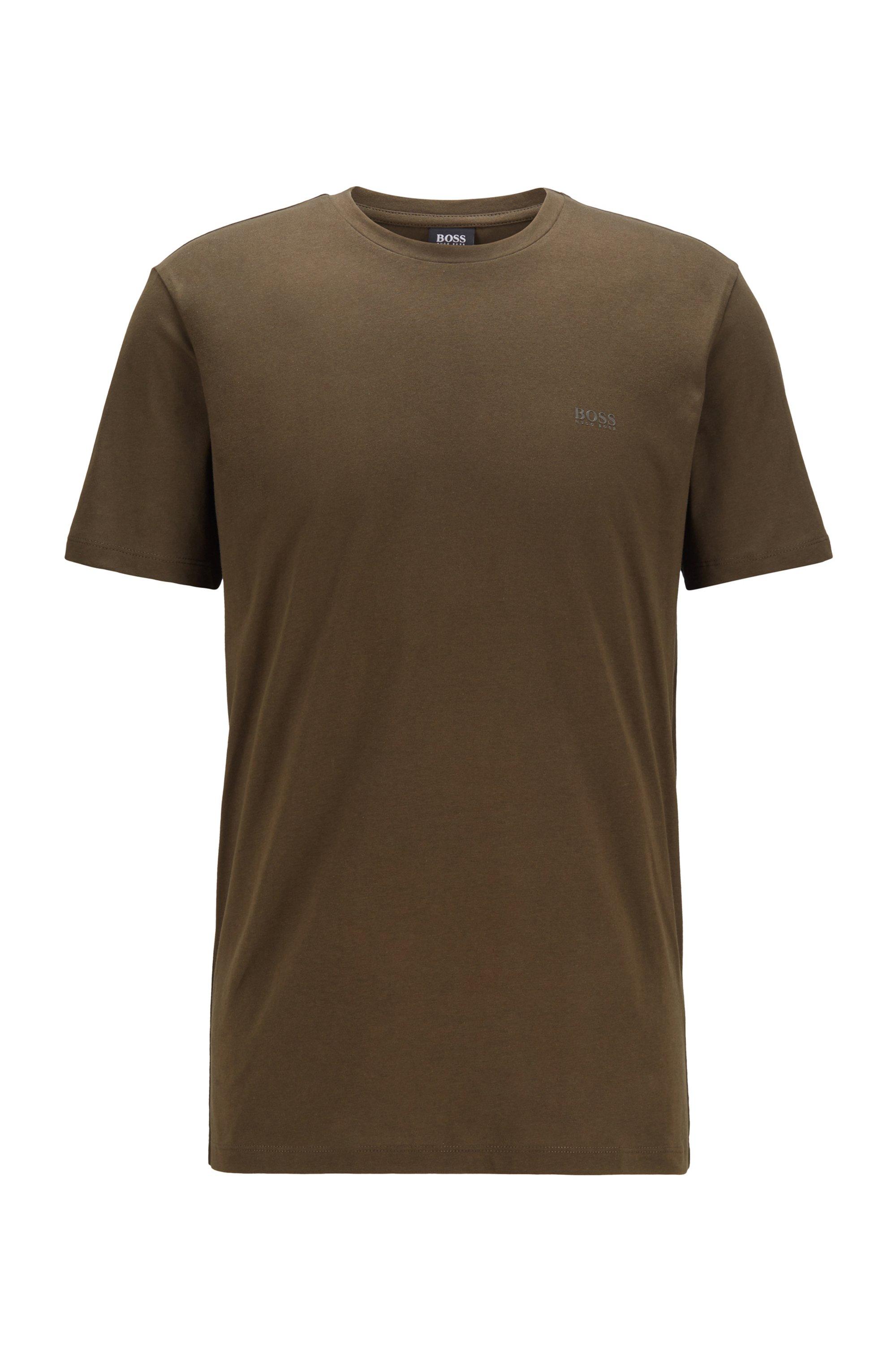T-Shirt mit Rundhalsausschnitt aus garngefärbtem Single Jersey, Braun