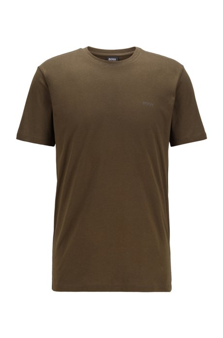 Crew-neck T-shirt in yarn-dyed single jersey, Green