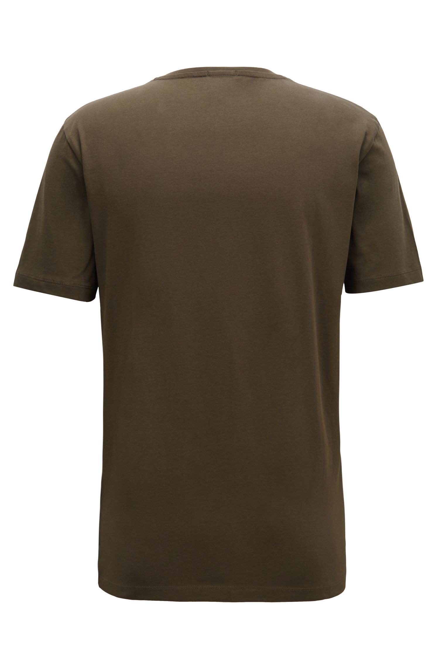T-Shirt mit Rundhalsausschnitt aus garngefärbtem Single Jersey, Grün