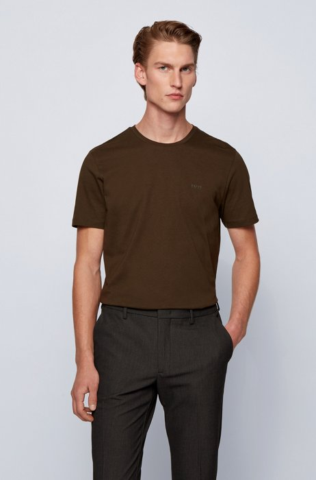 Crew-neck T-shirt in yarn-dyed single jersey, Brown