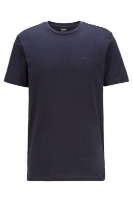 T-Shirt mit Rundhalsausschnitt aus garngefärbtem Single Jersey, Dunkelblau
