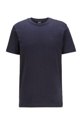T-shirt à col ras-du-cou en jersey simple tissé-teint, Bleu foncé