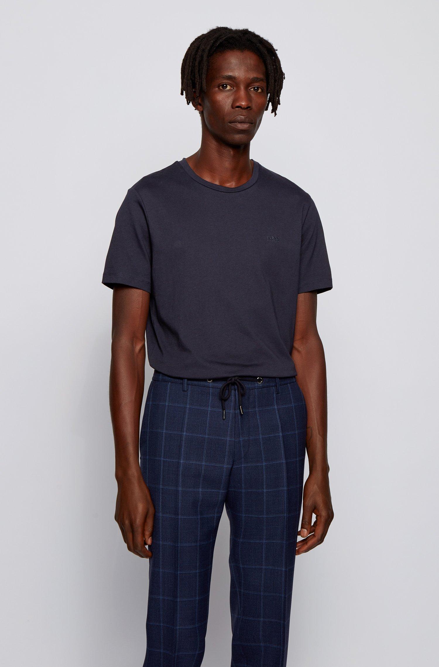 Crew-neck T-shirt in yarn-dyed single jersey, Dark Blue