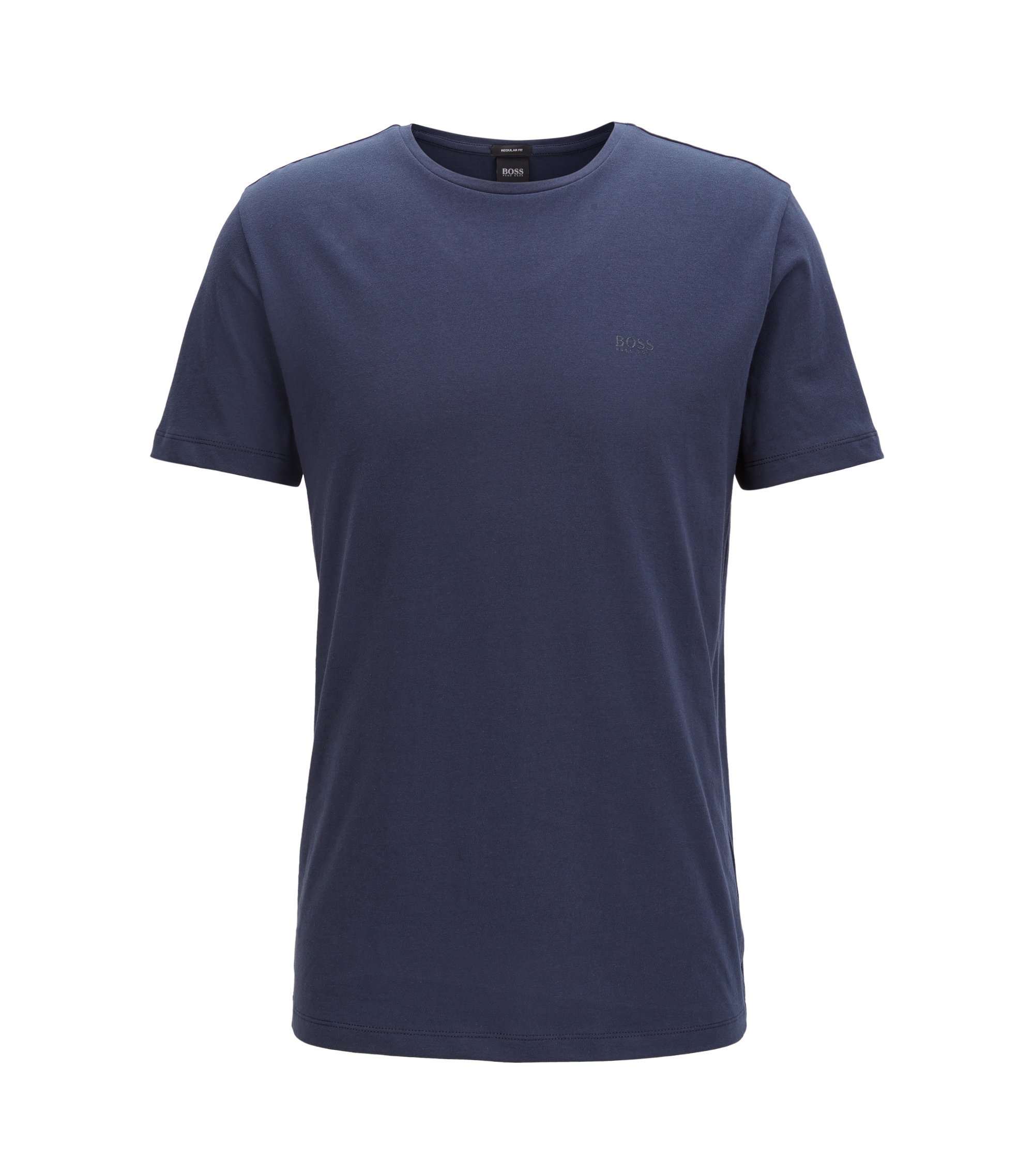 T-shirt met ronde hals van garengeverfde singlejersey, Donkerblauw