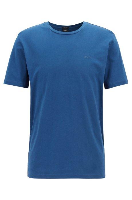 Camiseta de cuello redondo en punto sencillo teñido en hilo, Azul oscuro